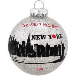 Personalized New York Skyline Glass Ball Ornament