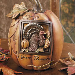 Turkey Embossed Thanksgiving Pumpkin