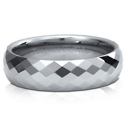 Men's Multi-Faceted Domed Tungsten Carbide Comfort Fit Band