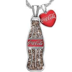 Crystal Vintage Coke Bottle Pendant with Red Heart Charm