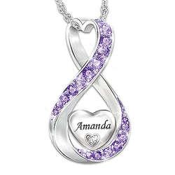 Daughter's Name Swarovski Crystal Birthstone and Diamond Pendant