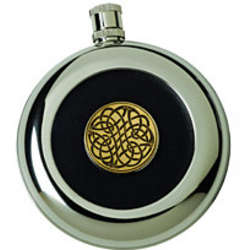 Engraved Name and Coat of Arms Celtic Knot Flask with Shot
