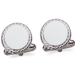 Engravable Sterling Silver Rope Edged Round Cuff Links