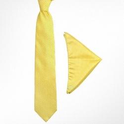 Yellow Mini Polkadot Printed Silk Tie & Pocket Square