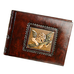 Leather Photo Album Angel with Lute