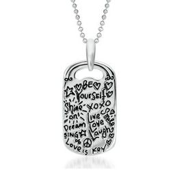 Sterling Silver True Friend Graffiti Necklace
