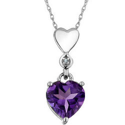 Amethyst Heart Pendant with Diamond Accent in 10K White Gold