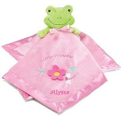 Personalized Baby Girl Frog Security Blanket