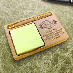 Personalized Thank You Wooden Notepad and Pen Holder