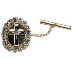 Cross Rhinestone Tie Pin