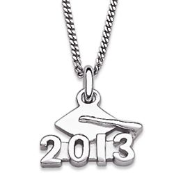 Rhodium Plated Sterling Silver 2013 Graduation Necklace