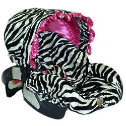 Zoe Zebra Infant Car Seat Cover with Pink Ruffle