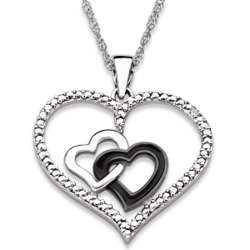 Sterling Silver Diamond Accent Open Double Hearts Necklace