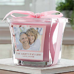 Lavender and Linen Sweetheart Personalized Photo Candle
