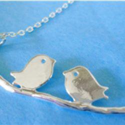 Love Birds Silver Necklace