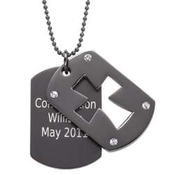 Black Stainless Steel Double Dog Tag Engraved Cross Necklace