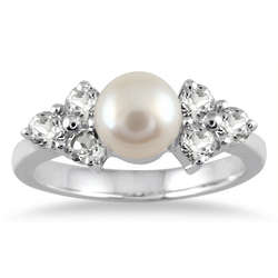 Sterling Silver Freshwater Pearl and Topaz Ring