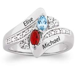 Sterling Silver Couple's Crystal Marquise Birthstone Name Ring