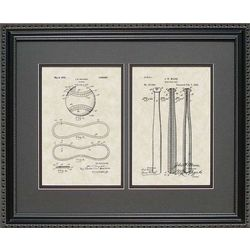 Framed 16x20 Baseball Bat and Ball Patent Art Print