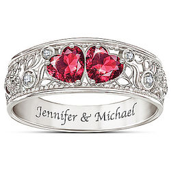 Heart Shaped Diamond and Simulated Ruby Personalized Ring