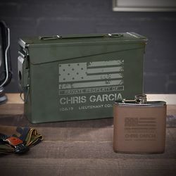 American Heroes Personalized Military Ammo Can Flask Gift Set