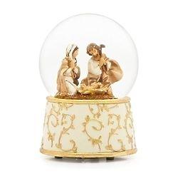 Golden Vine Nativity Musical Glitter Dome