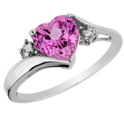 Pink Sapphire Heart Ring with Diamonds in 14K White Gold