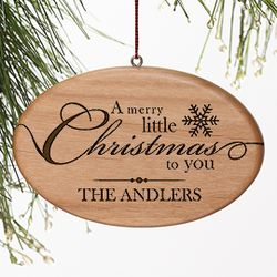 Personalized Merry Little Christmas Wood Ornament
