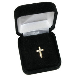 Cross Tie Pin with Rhinestone Accents