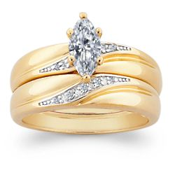 Two-Tone Marquise Cubic Zirconia and Diamond Wedding Ring Set