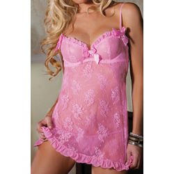 First Kiss Lace Babydoll with G-String