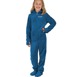 Blue Hoodie Footie Pajamas for Girls