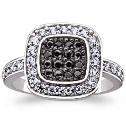 Sterling Silver Black and White Cubic Zirconia Fancy Cushion Ring