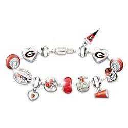 Georgia Bulldogs Charm Bracelet with Swarovski Crystals