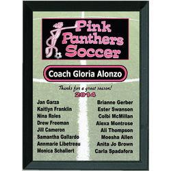Custom Photo Soccer Team Roster Plaque