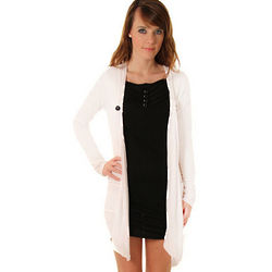 White and Black Long Sleeve Knit One-Piece Cardigan Dress