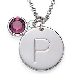 Personalized Initial Charm Pendant with Swarovski Crystal