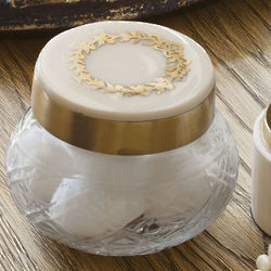 Small Round Cut Glass Vanity Box