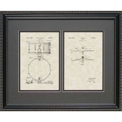 Framed 16x20 Drum and Cymbal Patent Art Print