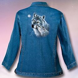 Wolf Art Stone-Washed Denim Women's Jacket