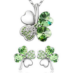 Gold-Plated Swarovski Crystal 4-Leaf Clover Pendant and Earrings