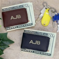 Personalized Leather Initial Money Clip