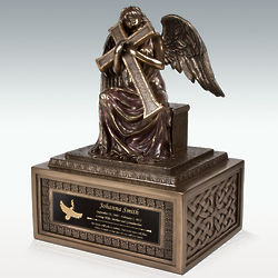 Large Angel and Cross Cremation Urn
