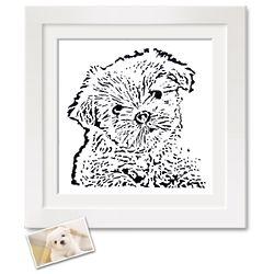 8x10 Paper Cut Framed Pet Portrait from Photo