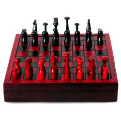 African Challenge Wood and Leather Chess Set