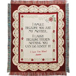Personalized I Smile Because You Are My Mother Throw