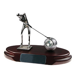 Swinging Golfer Personalized Desktop Clock