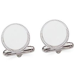 Engravable Sterling Silver Round Cuff Links