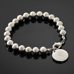 Personalized Silver Round Bead Bracelet