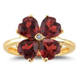 Diamond & Garnet Flower Ring in 14K Yellow Gold